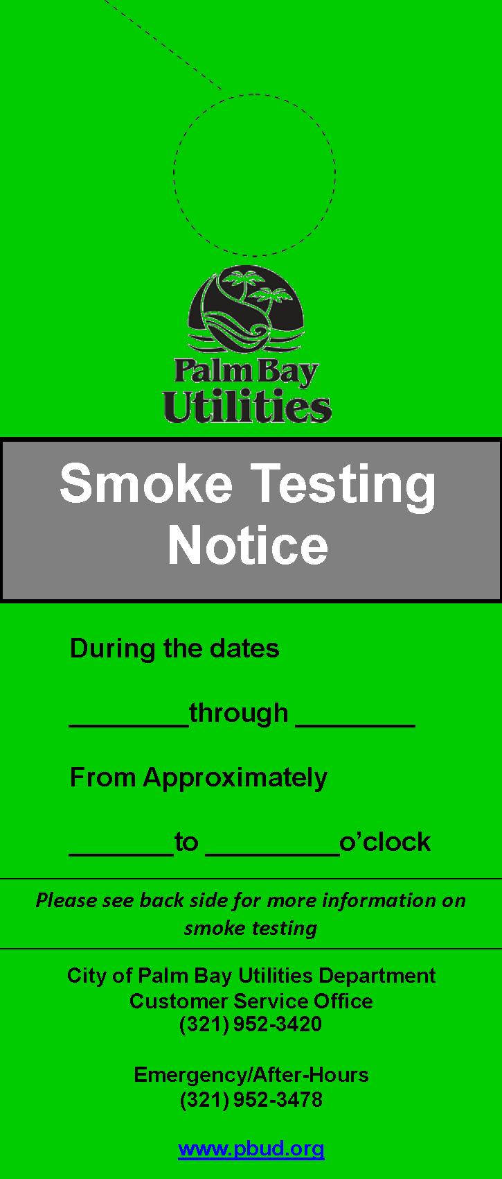 Green Smoke Testing Notice Door Hanger