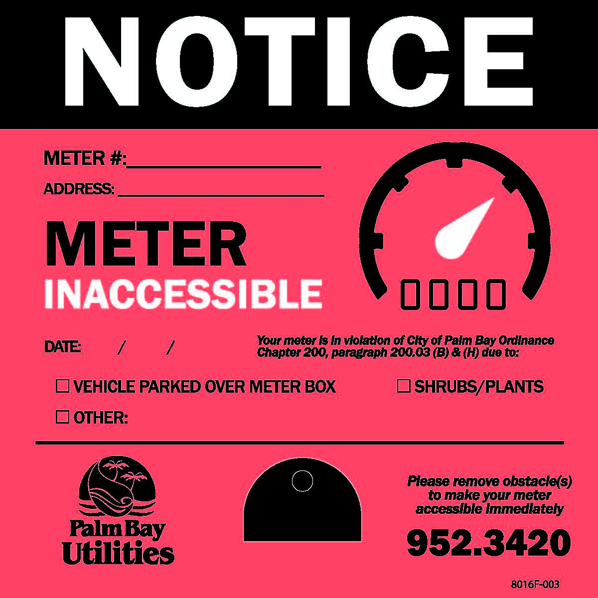 Yard Stake Notice for Inaccessible Meter