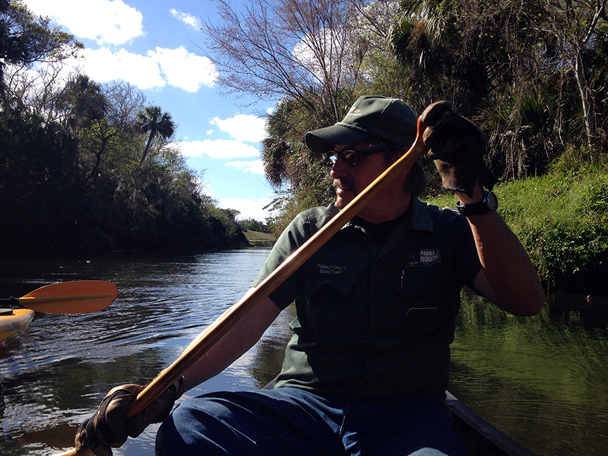 Former Park Ranger Oli Johnson Paddles Kayak on Turkey Creek