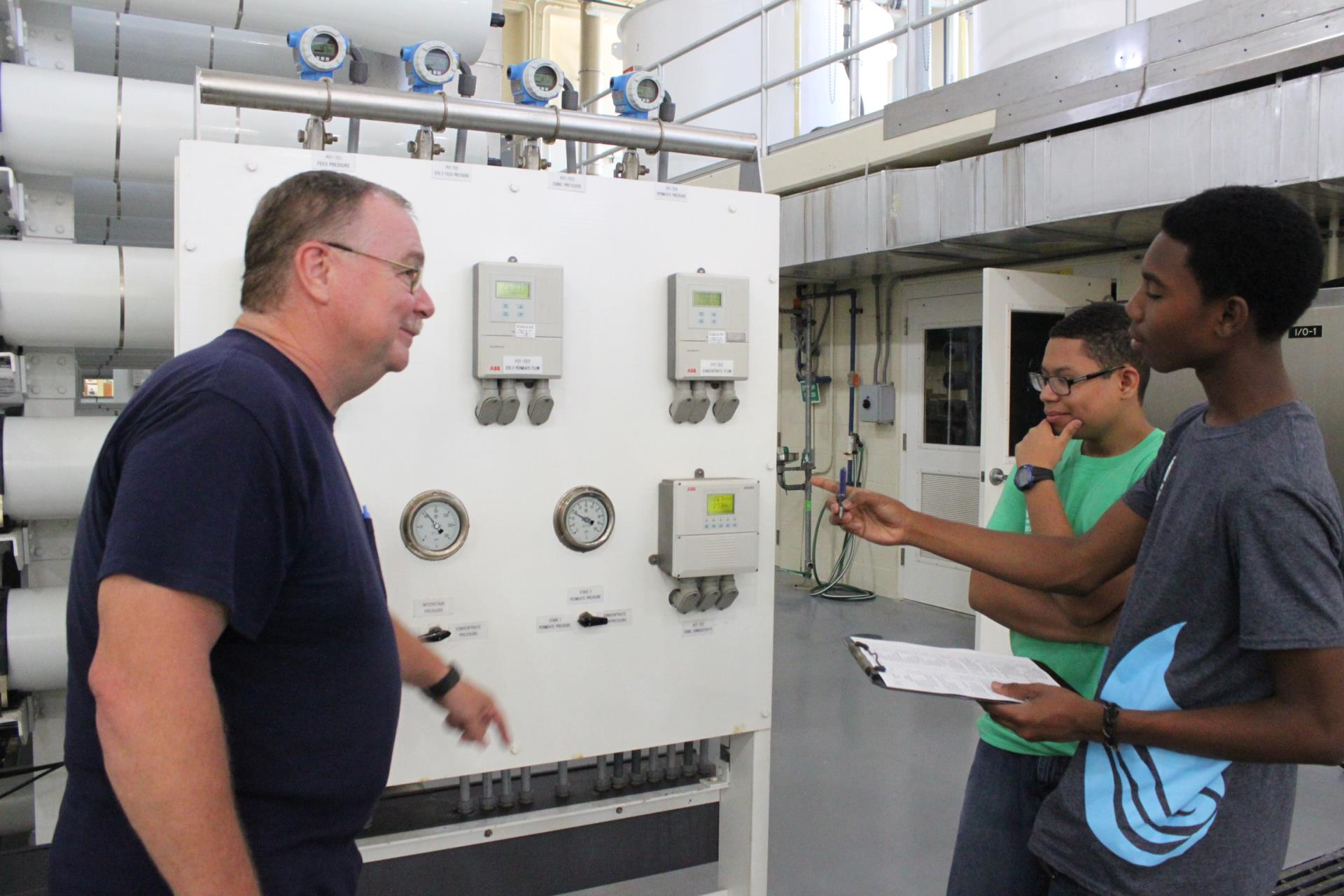 AEWT Interns working at water plant
